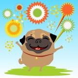Ein glücklicher Hund mit Feuerwerken auf der Natur stock abbildung