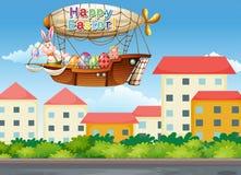 Ein glücklicher Ostern-Gruß mit einem Häschen innerhalb der Flugzeuge Lizenzfreie Stockbilder