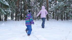 Ein glückliches Kind und ein Mutterlauf durch einen schneebedeckten Wald oder einen Park unter Bäumen an einem kalten Wintertag E stock video