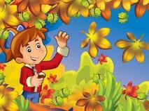 Ein glückliches Mädchen im Holz, das Kastanien erfasst und Spaß im Herbstwald hat Stockfotos
