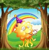 Ein glückliches Monster am Wald vektor abbildung