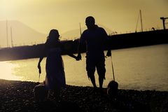 Ein glückliches Paar nehmen ihren Hund für einen Weg auf dem Strand stockfotos