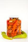 Ein Glas in Büchsen konservierter Paprika Stockfotografie