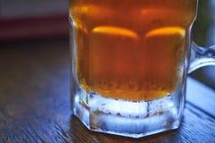 Ein Glas des besten Bieres, des Funkelns und der Kälte stockbilder