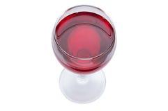 Ein Glas Rotwein ist eine Draufsicht Alkoholisches Getränk auf einem weißen Hintergrund Lizenzfreie Stockfotografie