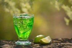 Ein Glas Sodawasser auf einem alten Brett, auf der Natur Stockfotos