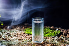 Ein Glas Wasser aus den Grund lizenzfreies stockfoto