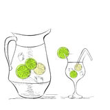 Ein Glas Wasser mit Kalk stock abbildung