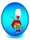 Ein Glas Wein in einer Schüssel Lizenzfreie Stockbilder