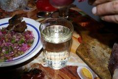 Ein Glas Wodka und einfacher Imbiss stockbild