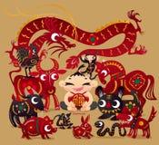 Ein glücklicher Junge mit zwölf chinesischen Tierkreistieren Lizenzfreies Stockfoto