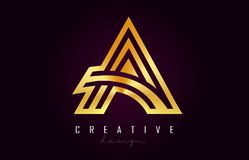 Ein goldener Buchstabe Logo Monogram Vector Design Kreativ eine Goldmetallbuchstabe-Ikone vektor abbildung