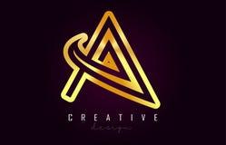 Ein goldener Buchstabe Logo Monogram Vector Design Kreativ eine Goldmetallbuchstabe-Ikone stock abbildung