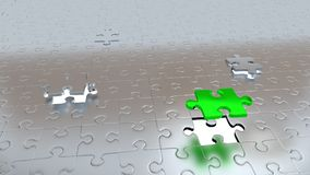 Ein grün und zwei Grey Pieces, vor allem, das anderes Grau mit T ausbessert Stockfoto