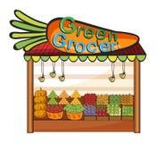 Ein grünes Lebensmittelhändlergeschäft stock abbildung