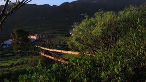 Ein grünes Tal in den Bergen stock footage