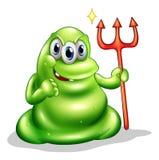 Ein greenslime Monster, welches das Zeichen des Todes hält Stockbild