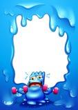 Ein Grenzentwurf mit einem blauen Monstertrainieren Lizenzfreie Stockfotografie