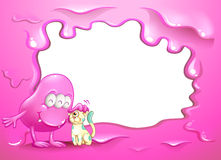 Ein Grenzentwurf mit einem rosa Monster und einem Haustier Lizenzfreies Stockfoto