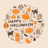Ein grimmiger Minireaper, der eine Sense anhält, steht auf einem Kalendertag, der glückliches Halloween sagt Lizenzfreie Stockfotos