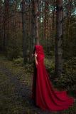 Ein grimmiger Minireaper, der eine Sense anhält, steht auf einem Kalendertag, der glückliches Halloween sagt Eine Hexe im Rot unt Lizenzfreies Stockbild
