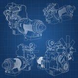 Ein großer Dieselmotor mit dem LKW dargestellt in den Tiefenlinien auf Zeichenpapier mit Maßeinteilung Die Konturen der schwarzen Stockbild