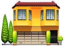 Ein großer gelber gewerblich genützter Grundbesitz Stockbild