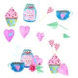 Ein großer Satz Aquarellelemente für Valentinstag oder Hochzeitstag Blumen, Pfeil, Umschlag, Ballon, Herz, Schale und andere stockfotografie