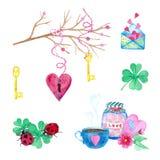 Ein großer Satz Aquarellelemente für Valentinstag oder Hochzeitstag Blumen, Pfeil, Umschlag, Ballon, Herz, Schale und andere lizenzfreie stockfotos