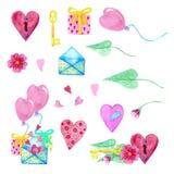 Ein großer Satz Aquarellelemente für Valentinstag oder Hochzeitstag Blumen, Pfeil, Umschlag, Ballon, Herz, Schale und andere stockbild