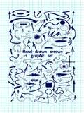 Ein großer Satz grafische Elemente und blaue Pfeile Stockfotografie