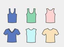 Ein großer Satz Männer ` s T-Shirts von verschiedenen Arten Lizenzfreie Stockbilder