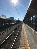 Ein großer Schuss einer Bahnstrecke in Chicago Stockfotografie