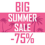 Ein großer Sommerschlussverkauf, Palmen auf einem rosa Hintergrund mit einem Rabatt von fünfundsiebzig Prozent Billig Verkauf, An lizenzfreie abbildung
