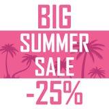 Ein großer Sommerschlussverkauf, Palmen auf einem rosa Hintergrund mit einem Rabatt von fünfundzwanzig Prozent Billig Verkauf, An lizenzfreie abbildung