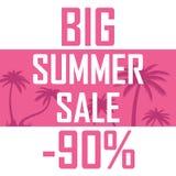 Ein großer Sommerschlussverkauf, Palmen auf einem rosa Hintergrund mit einem Rabatt von neunzig Prozent Billig Verkauf, Angebot stock abbildung