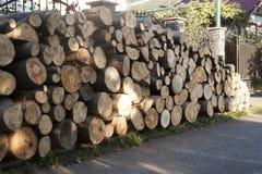 Ein großer Stapel Brennholz Stockfotos