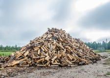 Ein großer Stapel des Spaltenbrennholzes Stockbild