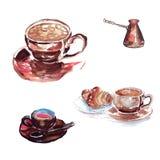 Ein großer Tasse Kaffee mit einem Eibisch und einem Hörnchen, eine kleine Kaffeemaschine stock abbildung