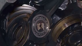 Ein großer Teil der Fahrgestelle des LKW-Makro stock video footage
