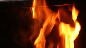 Ein großes Feuer brennt im Grill stock video