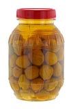 Ein großes Glas des in Essig eingelegten Pfirsiches Stockfotografie