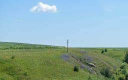 Ein großes hölzernes orthodoxes Kreuz steht in einem Gewann unter einem blauen Himmel mit einer Wolke Lizenzfreie Stockbilder
