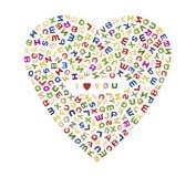 Ein großes Herz von Buchstaben stock abbildung