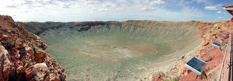 Ein großes Meteor-Krater-Panorama Lizenzfreie Stockbilder