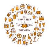 Ein großer Satz bunte Ikonen auf dem Thema des Bieres, seiner Produktion und des Gebrauches im Vektorformat stock abbildung