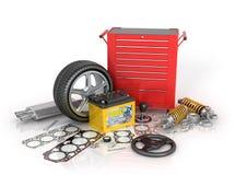 Ein großer Satz von Automobilteilen und von Tool-Kit Lizenzfreie Stockfotos