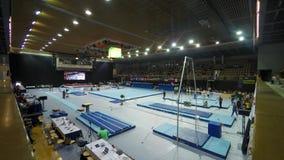 Ein gymnastischer Wettbewerb in Ungarn stock video footage