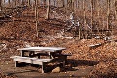 Ein hölzerner Picknicktisch teilweise bedeckt im Schnee nahe bei einer Holzbrücke im Winterholz lizenzfreie stockfotografie