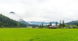 Ein hölzernes Häuschen im ländlichen Gebiet von Österreich mit Rasenfläche und s Stockfotos